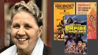 Picture of Leigh Brackett next to pictures of the cover of 3 of her novels.