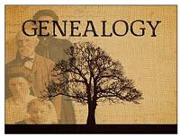 "Text ""Genealogy"" picture of a tree with peple standing behind it"