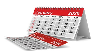 Image of a red and white calendar