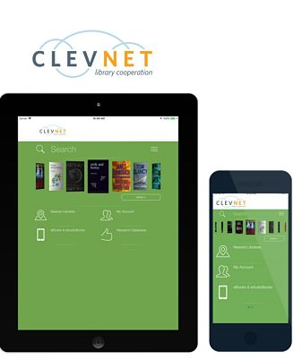 Clevnet logo with a tablet and a smart phone displaying the Clevnet Mobile App