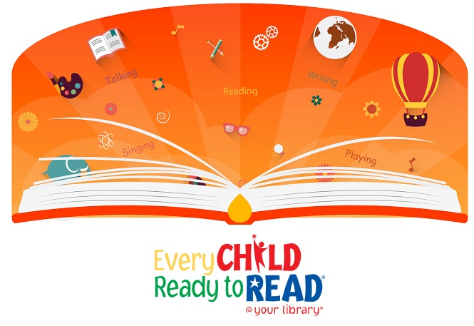 Every Child Ready to Read @ Your Library; Picture of an open book with little pictures and words related to literacy floating above it on an orange background