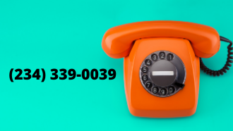 picture of an orange phone on a teal background with phone number listed (234) 339-0039