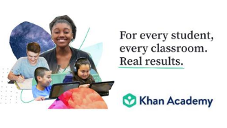 Kids smiling with the Khan Academy Logo