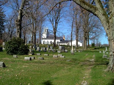 Picture of cemetary with tombstones and church in background