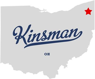 "Map of Ohio with words ""Kinsman, Ohio"" written across it with a red star indicating where Kinsman is located in Ohio"
