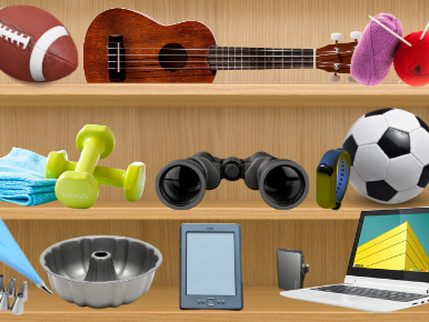 book shelf with random things on it including a football, soccer ball, ukulele, yarn, dumbells, binoculars, cake pan, kindle and laptop